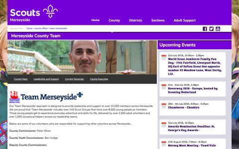 Screenshot of Team Page merseysidescouts.com - Merseyside Scouts :: Team Merseyside, Supporting our adult volunteers - captured July 13, 2018