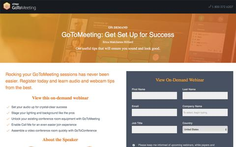 Screenshot of Landing Page gotomeeting.com - GoToMeeting: Get Set Up for Success - captured Oct. 12, 2017