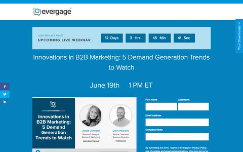 Screenshot of Signup Page evergage.com - Evergage | Innovations in B2B Marketing: 5 Demand Generation Trends to Watch - captured June 7, 2019