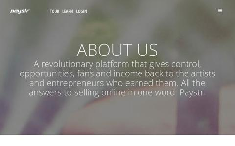 Screenshot of About Page paystr.com - Paystr - About - captured Sept. 23, 2014