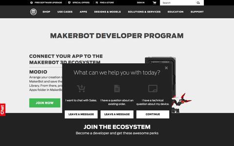 Screenshot of Developers Page makerbot.com - Developer Program   MakerBot - captured June 16, 2015