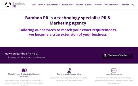 Screenshot of Home Page bamboopr.co.uk - Bamboo PR - Technology PR, Marketing & Social Media Agency - captured Nov. 6, 2018