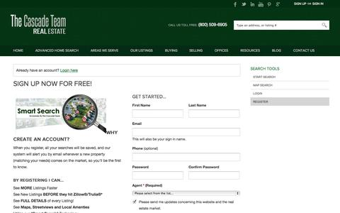 Screenshot of Signup Page thecascadeteam.com - Register - captured Oct. 26, 2014
