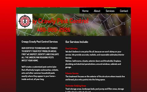 Screenshot of Services Page creepycrawlypestcontrol.com - Services - captured May 23, 2017