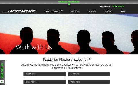 Screenshot of Contact Page afterburner.com - Work With Us   Afterburner - captured Nov. 5, 2015