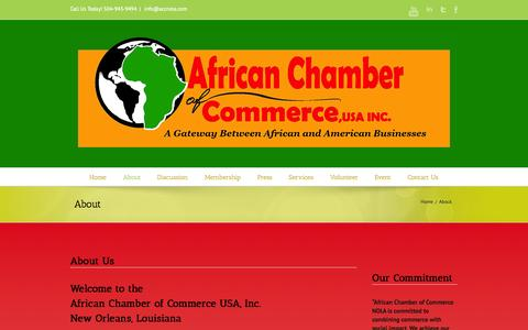 Screenshot of About Page accnola.com - About African Chamber of Commerce In New Orleans - captured Oct. 4, 2014
