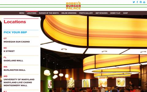 Screenshot of Locations Page bobbysburgerpalace.com - Locations - Official website of Bobby's Burger Palace - captured Oct. 29, 2014