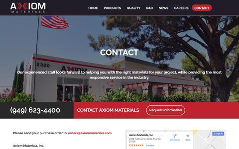 Screenshot of Contact Page axiommaterials.com - CONTACT - Axiom Materials, Inc. - captured Oct. 4, 2018