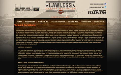 Screenshot of Terms Page lawlessofscottcity.com - Terms | Lawless Harley-Davidson® | Scott City Missouri - captured Oct. 5, 2014
