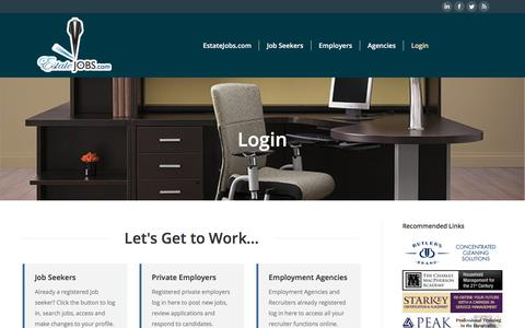 Screenshot of Login Page estatejobs.com - Login - Domestic employment job listings for staffing top private households - captured Aug. 22, 2017