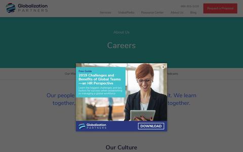 Screenshot of Jobs Page globalization-partners.com - Careers | Globalization Partners - captured July 27, 2019