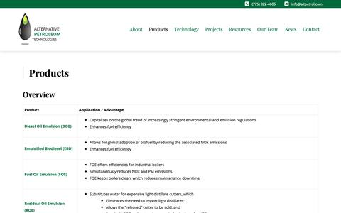 Screenshot of Products Page altpetrol.com - Products - Alt Petroleum - captured Oct. 3, 2018