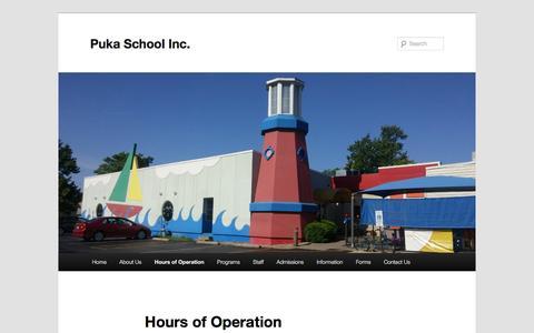 Screenshot of Hours Page pukaschoolinc.com - Hours of Operation | Puka School Inc. - captured Dec. 30, 2016