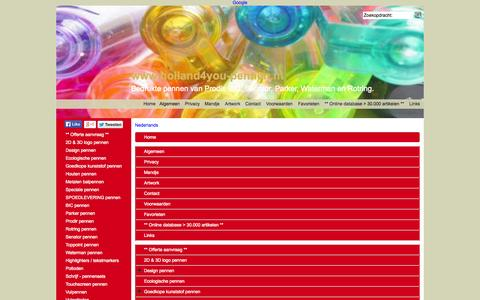 Screenshot of Site Map Page Menu Page holland4you-pennen.nl - Map - captured Oct. 22, 2014