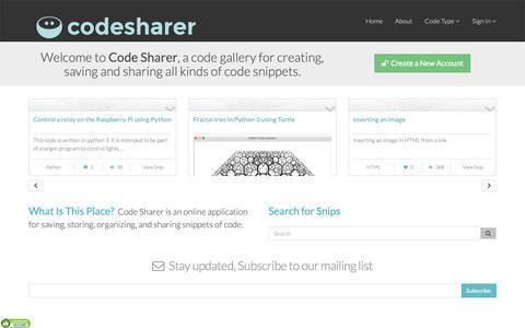Screenshot of Home Page codesharer.org - Codesharer · Code Snippet Gallery - captured Oct. 25, 2018