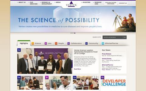 Screenshot of Home Page vrtx.com - vrtx.com - captured Dec. 3, 2015