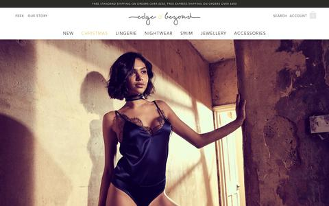 Screenshot of Home Page edgeobeyond.com - Edge o' Beyond | Luxury Lingerie, Nightwear and Jewellery with a twist - captured Nov. 14, 2018