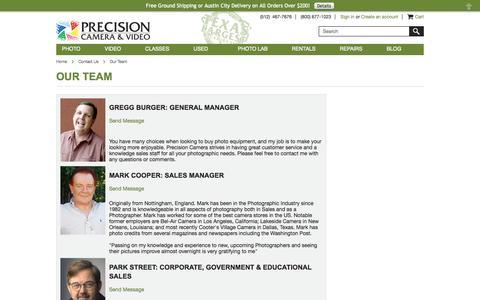 Screenshot of Team Page precision-camera.com - Precision Camera & Video - Our Team - captured Sept. 22, 2014
