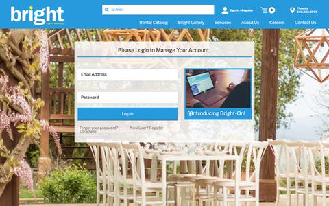Screenshot of Login Page bright.com - Bright Event Rentals - captured July 13, 2019