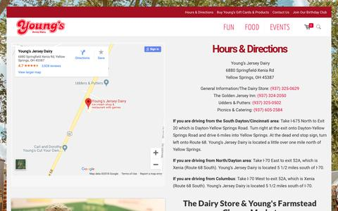 Screenshot of Hours Page youngsdairy.com - Hours & Directions - Young's Jersey Dairy - captured Oct. 19, 2018