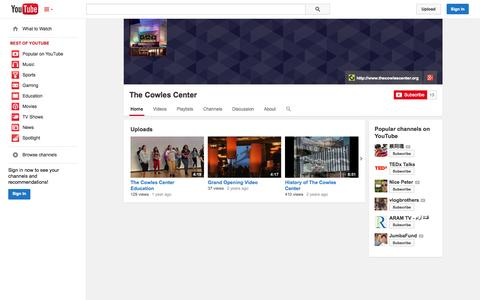 Screenshot of YouTube Page youtube.com - The Cowles Center  - YouTube - captured Oct. 22, 2014