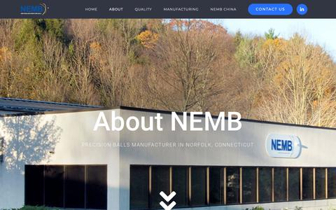 Screenshot of About Page nemb.com - Precision Balls Manufacturer NEMB | About Us - captured Oct. 20, 2018