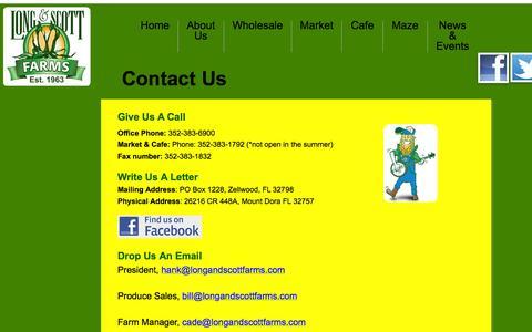 Screenshot of longandscottfarms.com - Contact Us - captured Sept. 26, 2015