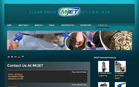 Screenshot of Contact Page mijet.com - Contact Us at MiJet - captured Jan. 10, 2016