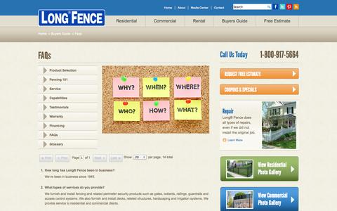 Screenshot of FAQ Page longfence.com - Faqs - Buyers Guide - Long Fence - captured Sept. 23, 2014