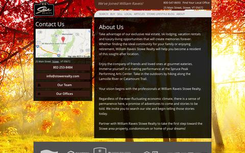 Screenshot of About Page stowerealty.com - About Us - William Raveis Stowe Realty - captured Oct. 1, 2014