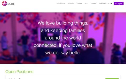 Screenshot of Jobs Page life360.com - Jobs | Life360 - The New Family Circle - captured Sept. 16, 2014