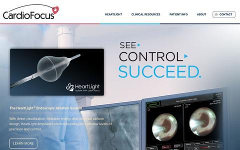 Screenshot of Home Page cardiofocus.com - Home - CardioFocus - The HeartLight Endoscopic Ablation System - captured May 14, 2017