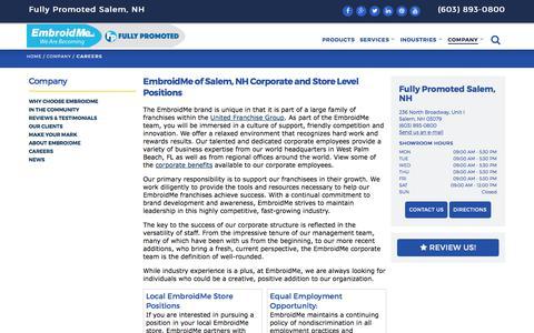 Screenshot of Jobs Page embroidme.com - Custom uniforms, Logo t shirt,Careers, Job Opportunities | EmbroidMe of Salem, NH - captured Aug. 1, 2017
