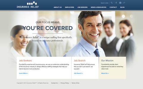 Screenshot of Home Page insurance-relief.com - Home | Insurance Relief - captured Jan. 27, 2015
