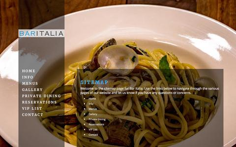 Screenshot of Site Map Page bar-italia.ca - Sitemap | Bar Italia | 582 College St., Toronto, ON | (416) 535-3621 - captured Feb. 7, 2016