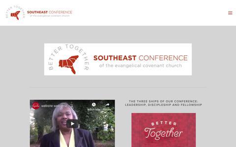 Screenshot of Home Page southeastconf.org - Southeast Conference | Evangelical Covenant Church - captured Dec. 5, 2018