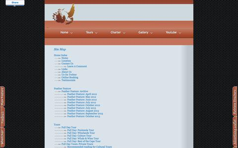 Screenshot of Site Map Page africanhoopoetours.com - African Hoopoe Tours (South Africa) - captured Sept. 30, 2014