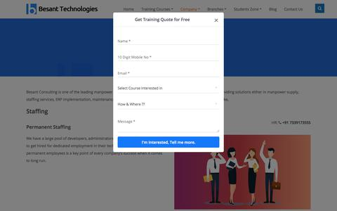 Screenshot of Services Page besanttechnologies.com - Manpower Consultancy in Chennai | Staffing Services - captured Nov. 19, 2019