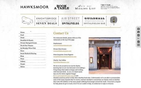 Screenshot of Contact Page thehawksmoor.com - Contact Us | The Hawksmoor - captured Sept. 19, 2014