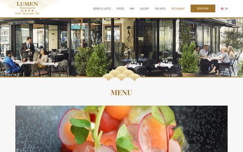 Screenshot of Menu Page hotel-lumenparis.com captured Sept. 8, 2017