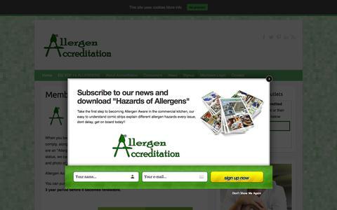 Screenshot of Signup Page allergenaccreditation.co.uk - Membership Signup - Allergen Accreditation - captured Feb. 10, 2016