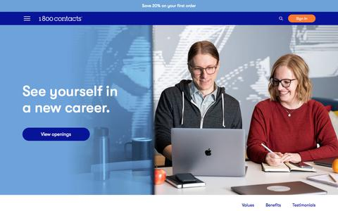 Screenshot of Jobs Page 1800contacts.com - Careers | 1-800 Contacts - captured Feb. 3, 2020