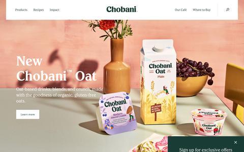 Screenshot of Home Page chobani.com - Chobani® - captured Feb. 13, 2020