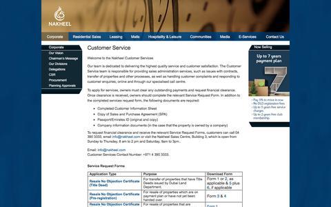 Screenshot of Support Page nakheel.com - Customer Service - captured Sept. 21, 2018