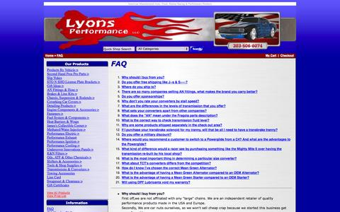 Screenshot of FAQ Page lyonsperformance.com - American Manufactured Auto, Truck, Marine Racing & Performance Products - captured Nov. 2, 2014