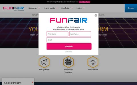 Screenshot of Developers Page funfair.io - FunFair for Developers - Reach a new global audience - captured July 9, 2018