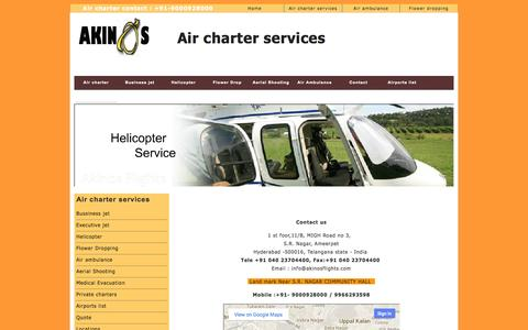 Screenshot of Contact Page akinosflights.com - Air charter services contact | Helicopter Rental | Flower Dropping | Private jet | Executive jet - captured Sept. 30, 2014