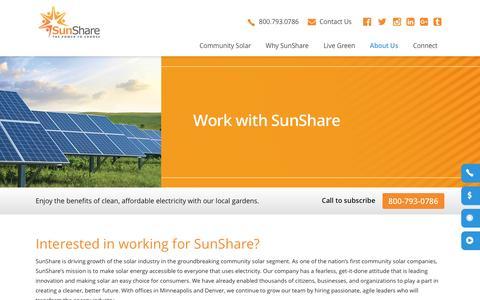 Screenshot of Jobs Page mysunshare.com - SunShare and Community Solar Gardens | Solar Farm - captured Dec. 3, 2016