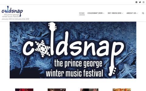 Screenshot of Home Page coldsnapfestival.com - Coldsnap – January 25th to February 2nd, 2019 - captured Nov. 10, 2018