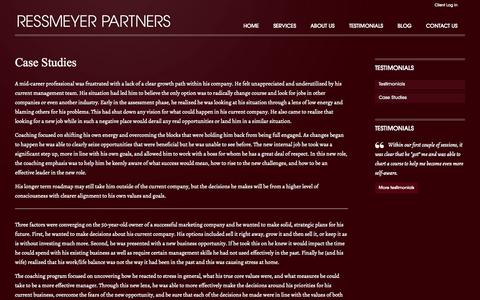Screenshot of Case Studies Page ressmeyerpartners.com - Case Studies | Ressmeyer Partners - captured Oct. 2, 2014